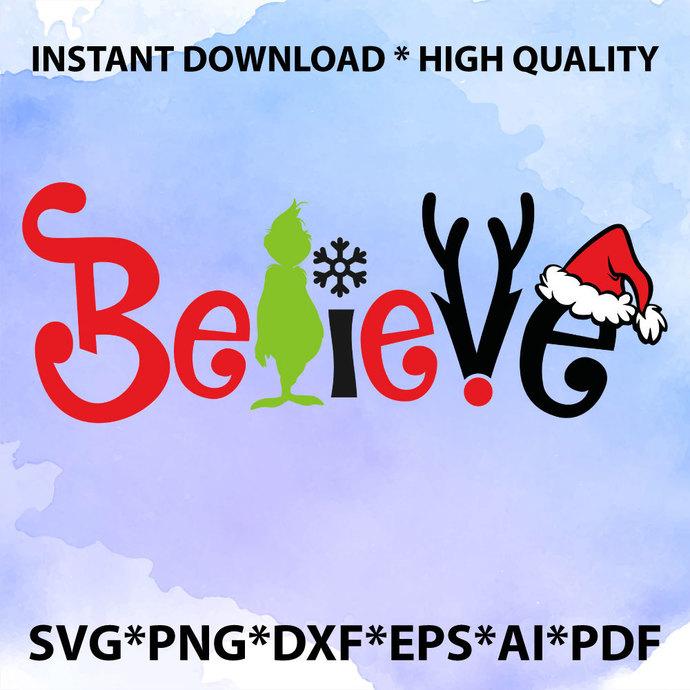 Believe Christmas SVG, Believe Svg, Believe cut files svg, Believe png,