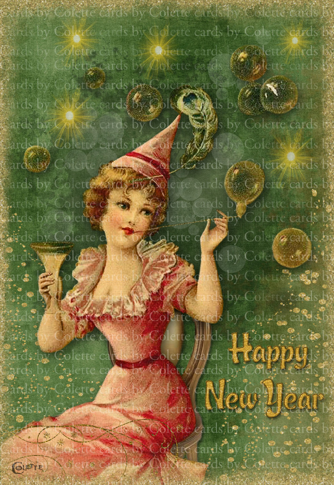 New Year Bubbles Digital Collage Greeting Card2550