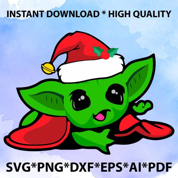 Christmas Baby Yoda SVG, Christmas Baby Yoda, Baby Yoda Vector, Merry Christmas