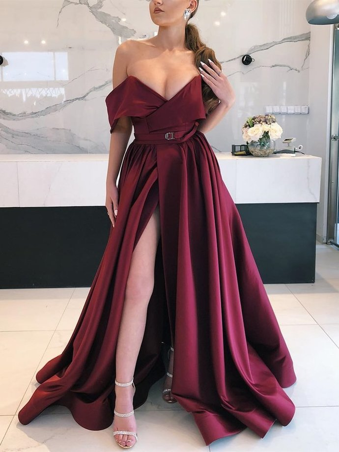 V Neck Off Shoulder Burgundy Long Prom Dress with Leg Slit, Burgundy Off the