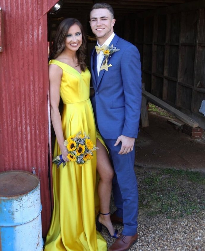 A Line V Neck Off Shoulder Yellow Prom Dress with Leg Slit, Yellow Long
