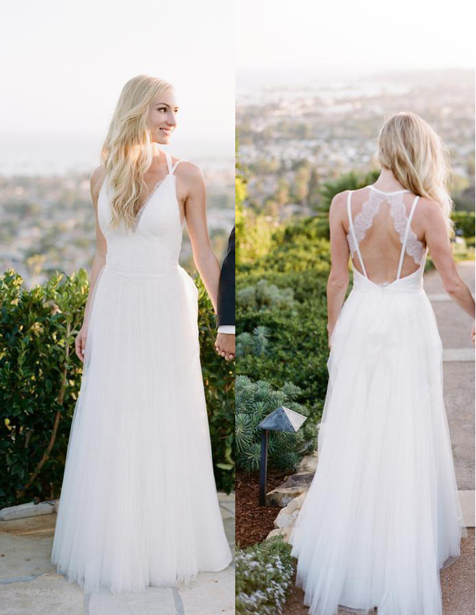 Hot Sale Long Tulle Country Wedding Dresses 2020 Spaghetti V Neck Lace Sexy