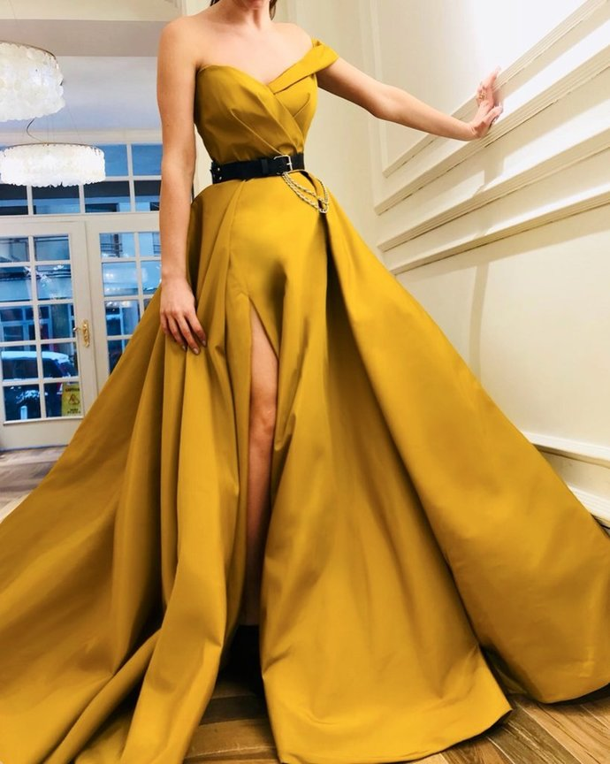 Sweetheart Neck One Shoulder Yellow Prom Dresses Long, One Shoulder Yellow