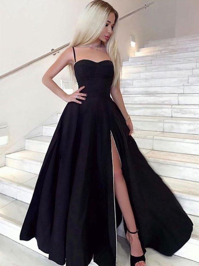A Line Sweetheart Neck Black Prom Dresses Long, Black Long Formal Graduation