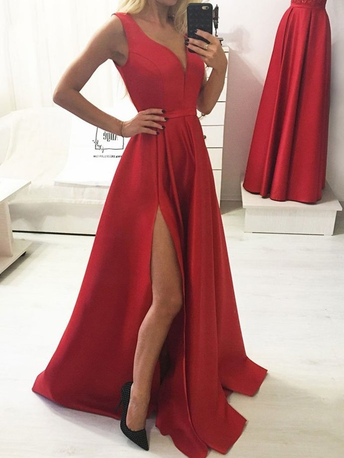 A Line V Neck Red Long Prom Dresses with Leg Slit, Red V Neck Formal Graduation