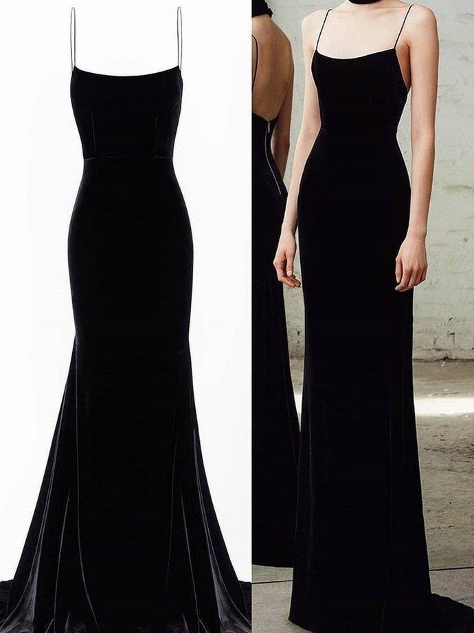 Spaghetti Straps Black Mermaid Long Prom Dresses, Black Mermaid Long Formal