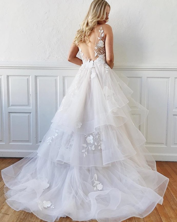 V Neck Backless White Floral Lace Wedding Dresses, White V Neck Floral Lace Prom