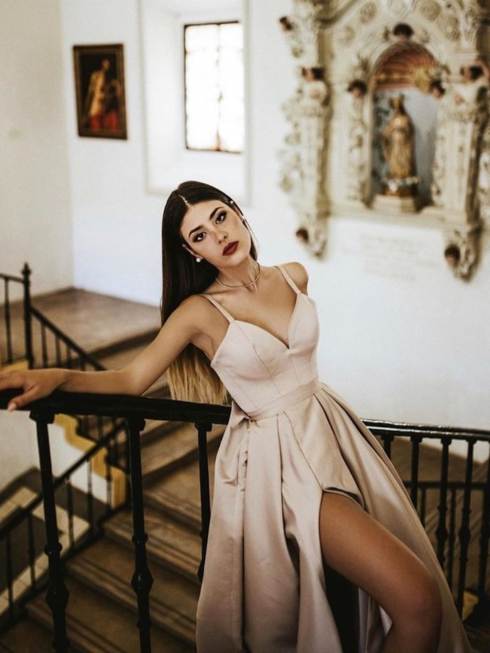 Sweetheart Neck Champagne Long Prom Dress with High Slit, High Slit Champagne