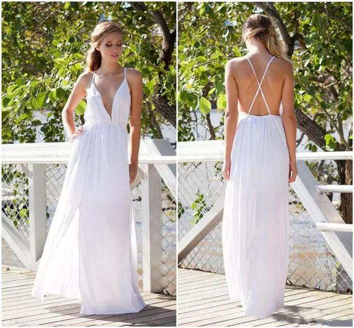 2020 New Wedding Dresses Special Occasion Dresses Pure White V Neck Cross Strap