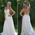 Romantic Lace Chiffon A Line Wedding Dress Sexy Spagheeti Straps Appliques Long