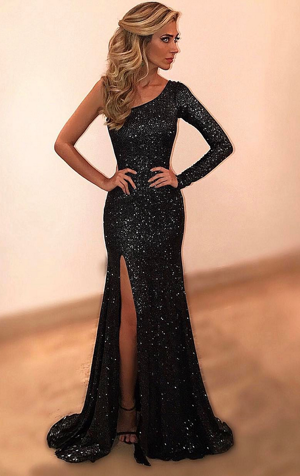 Cheap prom dresses Black Evening Dresses,One Shoulder and Evening Party Dress