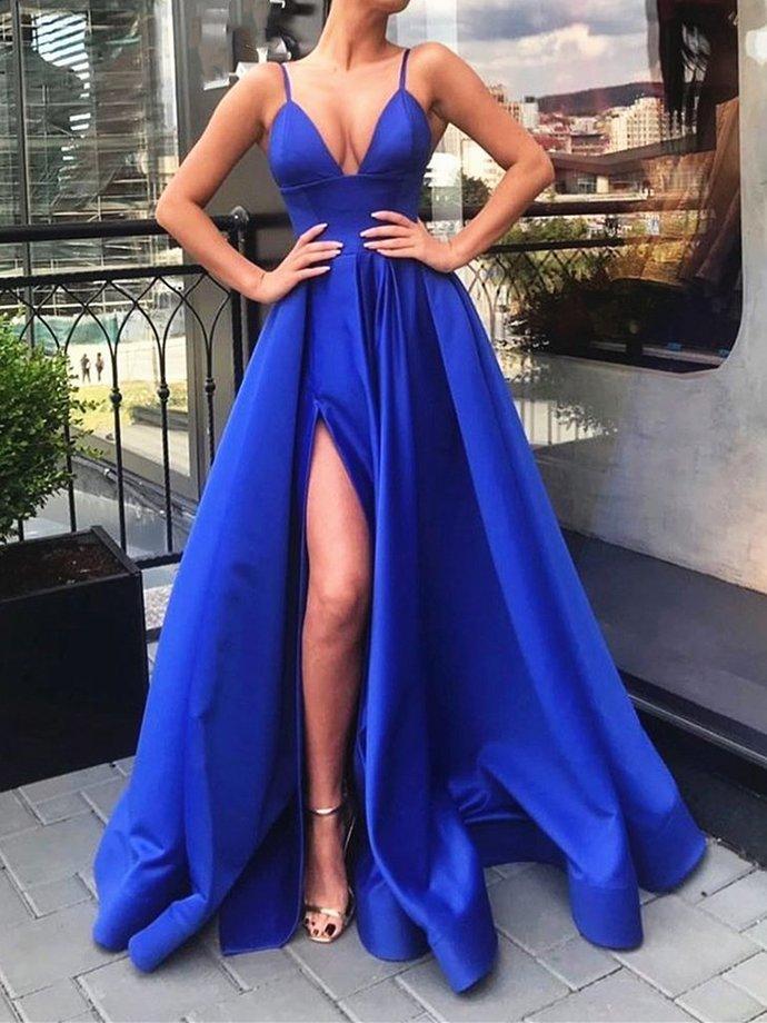 A Line V Neck Royal Blue Prom Dress with Leg Slit, V Neck Royal Blue Floor