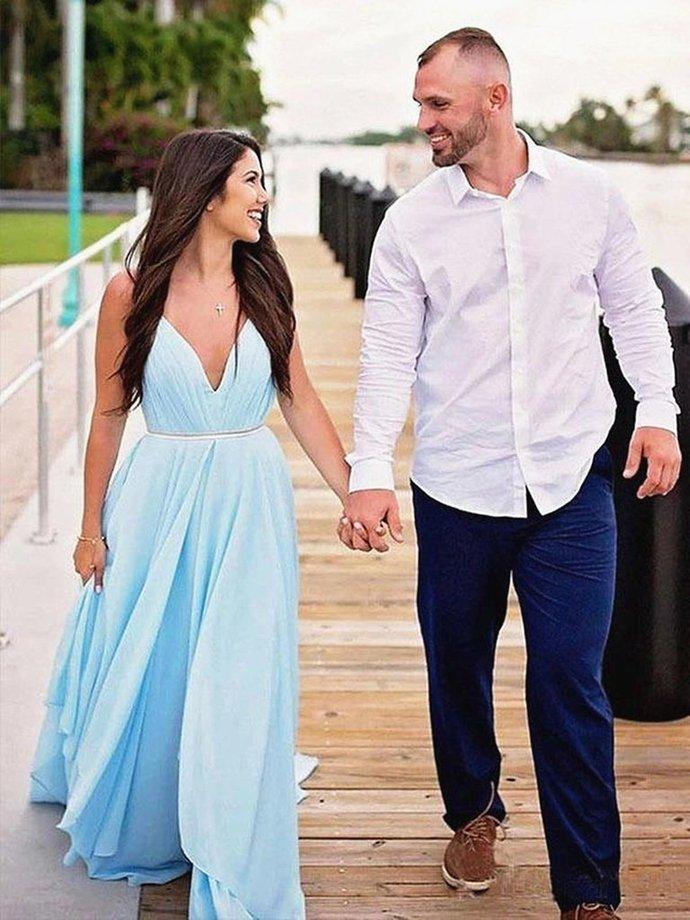 V Neck Light Blue Backless Prom Dresses, Light Blue Long Formal Bridesmaid