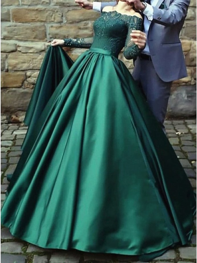 Long Sleeves Long Green Lace Prom Dresses, Emerald Green Lace Formal Evening