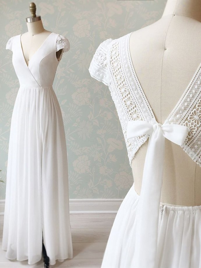 V Neck Cap Sleeves White Long Lace Prom Dresses, Cap Sleeves White Lace Wedding