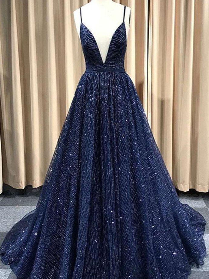 A Line V Neck Navy Blue/Burgundy/Champagne Prom Dresses, Shiny V Neck Open Back