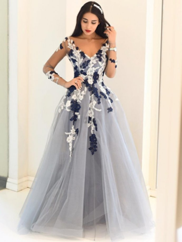 Gray Long Sleeves Long Lace Prom Dresses, Long Sleeves Lace Formal Graduation
