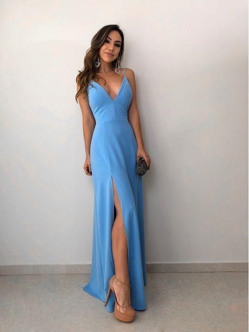 Simple Blue V neck Evening Dress, Split Slit Long Prom Dresses