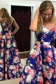 Off-the-Shoulder Floor-Length Royal Blue Printed Satin Prom Dress with Pockets