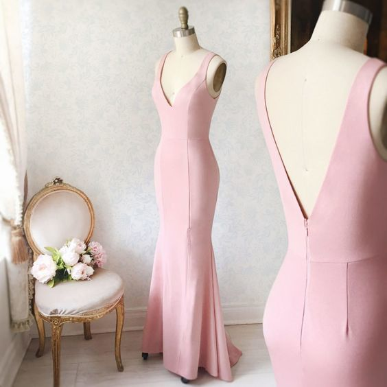 Simple Pink V-Neck Mermaid Formal Dress,Straps Pink Prom Dress