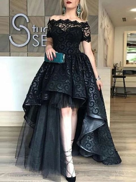 Black Lace Asymmetry Off-The-Shoulder Short Sleeves Sweep/Brush Zipper-Up