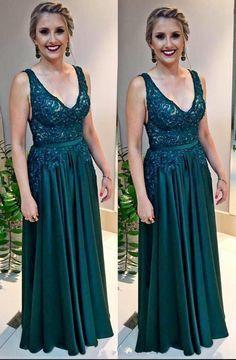 Cheap Hunter Green Long Prom Dresses V Neck Lace Chiffon Boho Arabic Evening