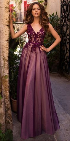 Gorgeous Tulle V-neck Neckline A-line Evening/Prom Dresses With Beaded Lace