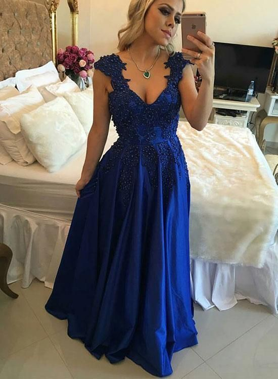 Sexy Blue V-Neck Long Prom Dresses Lace Beaded Evening Dresses A-Line Formal