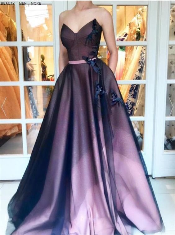 Sweetheart A Line Appliques Tulle Prom Dress