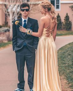 Straps Yellow Long Prom Dress with Cross Back