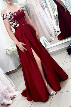 A Line Off the Shoulder Burgundy Satin Split Sweetheart Long Prom Dresses with
