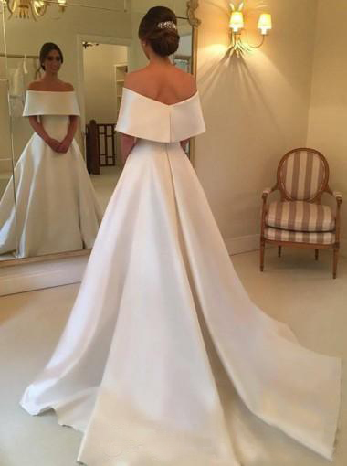 2020 Simple Designed A Line Bridal wedding Gowns Satin Off Shoulder Sweep Train