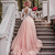 2020 Newest Blush Pink Country Wedding Dresses with Sleeves Deep V Neck Illusion