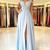Sky Blue A Line Prom Dresses Lace Applique Cap Sleeves Backless Side Split Floor