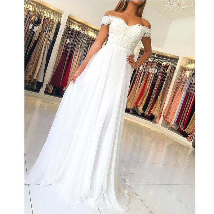 White Prom Party Dresses 2020 Sexy Off Shoulder Strapless Evening Gowns