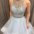 Blue Prom Dress,Tulle Prom Gown,A-Line Evening Dress,Beading Prom Gown 0113
