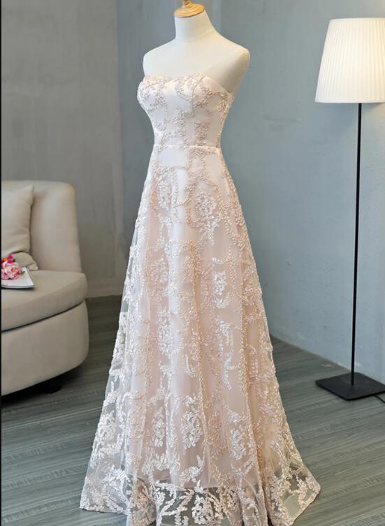 Light Pink Dress Strapless Long Lace Customize Prom Dress 2020, Lace Bridesmaid