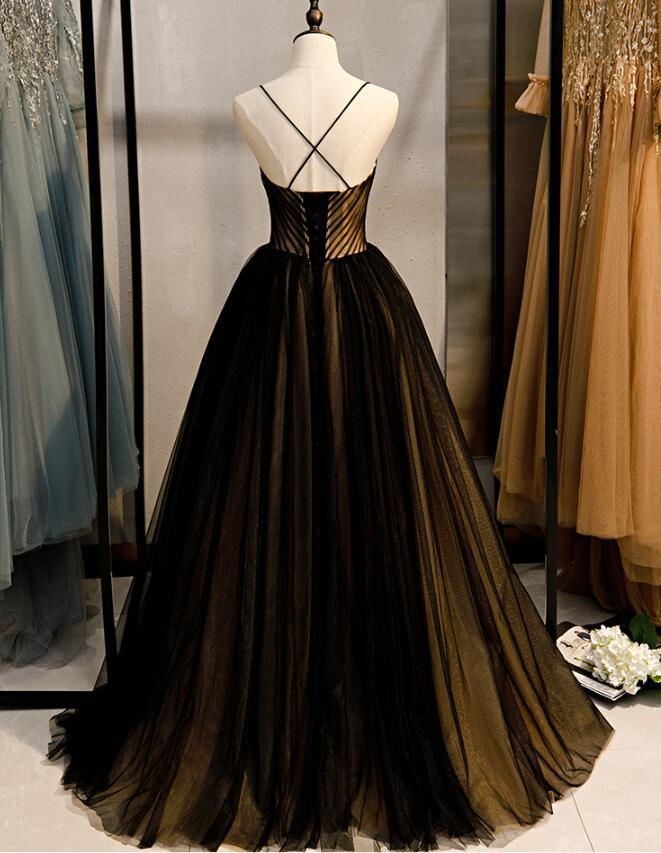Pretty Tulle Straps Long Ball Gown Party Dress, Sweet 16 Dresses