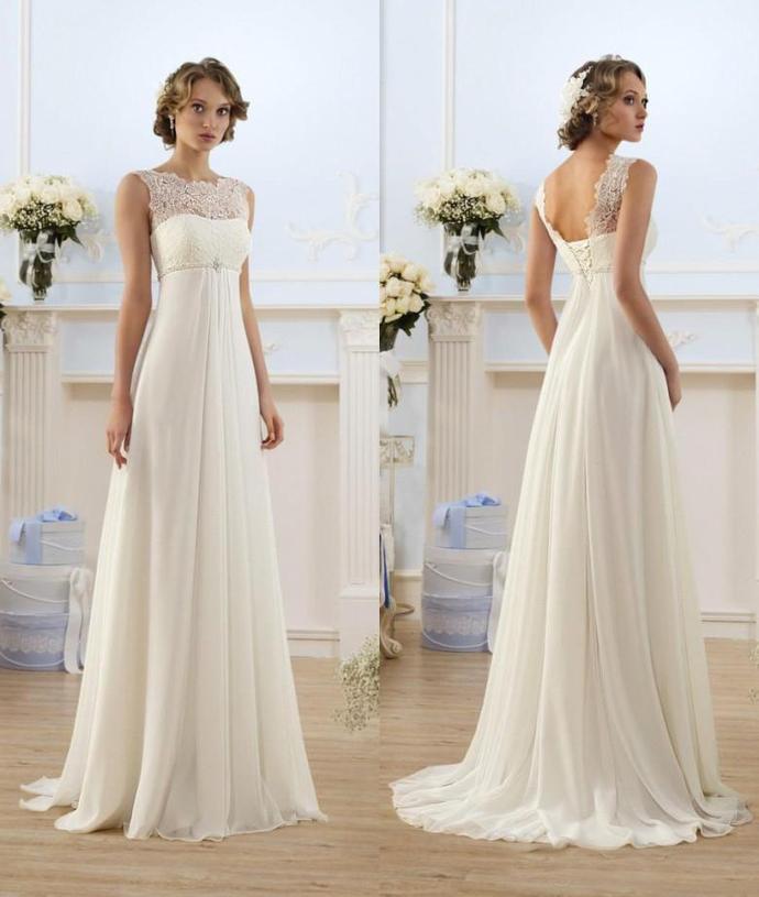 Chiffon A Line Empire High Waist Wedding Dresses Lace Sheer Neckline Lace-up
