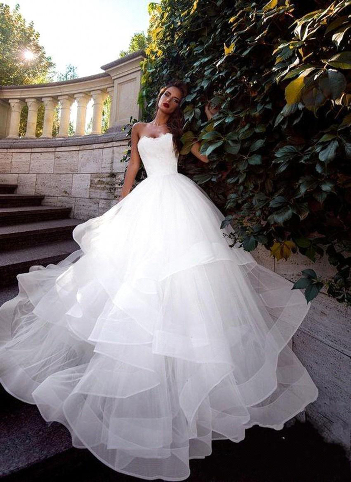 New Autumn Strapless vestido de novia White Wedding Dresses Ruched Tulle Sweep