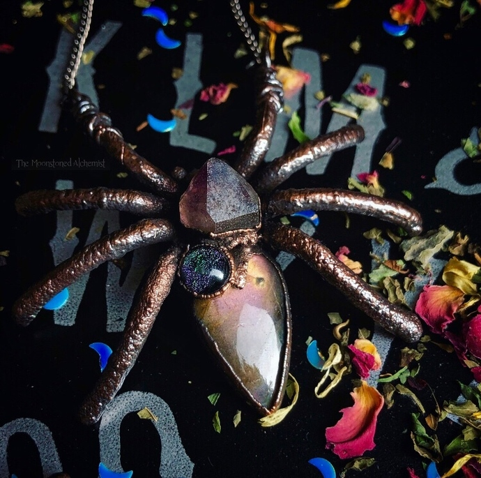 Autumn Spider Queen with Labradorite and Skeletal Amethyst, set in dark copper