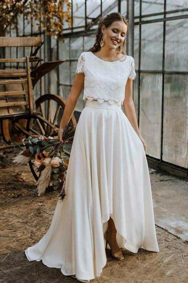 Hot Sell Two Pieces Summer Bohemian Wedding Dresses A Line Lace Top High Low