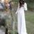 Bohemian White Wedding Dresses V Neck Backless Sweep Train Chiffon Beach Garden