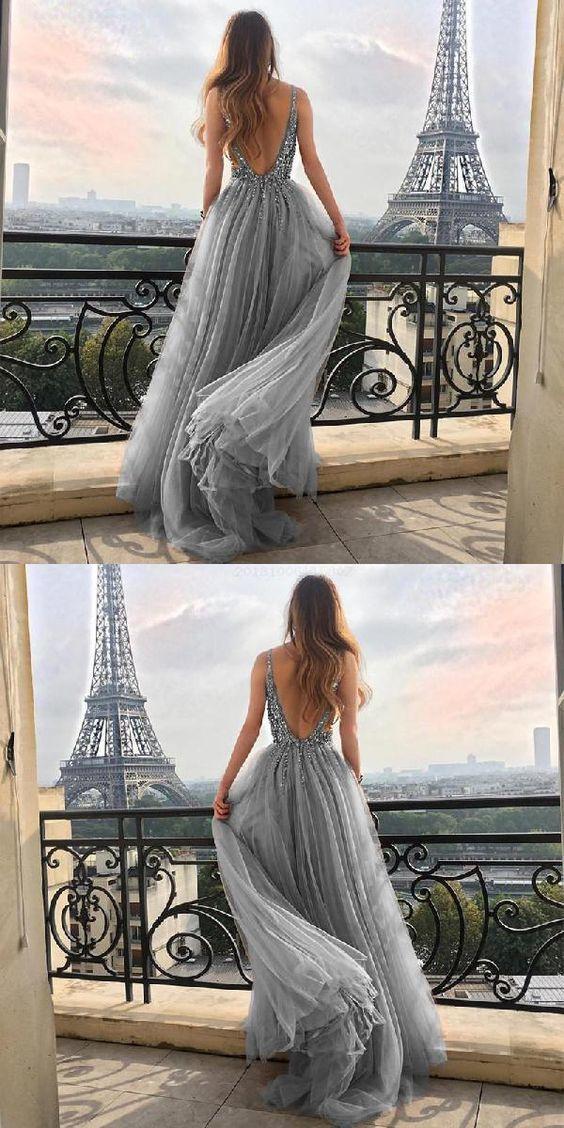 Sequin Prom Dresses, Prom Dresses V-neck, V Neck Evening Dresses, Evening