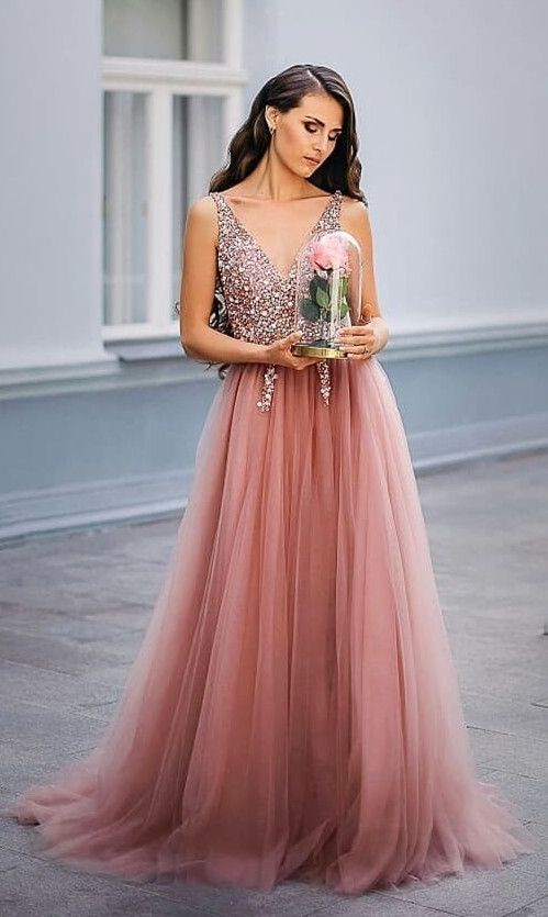 Blush Pink Long Prom Dress,Beading Prom Dress with Side Slit