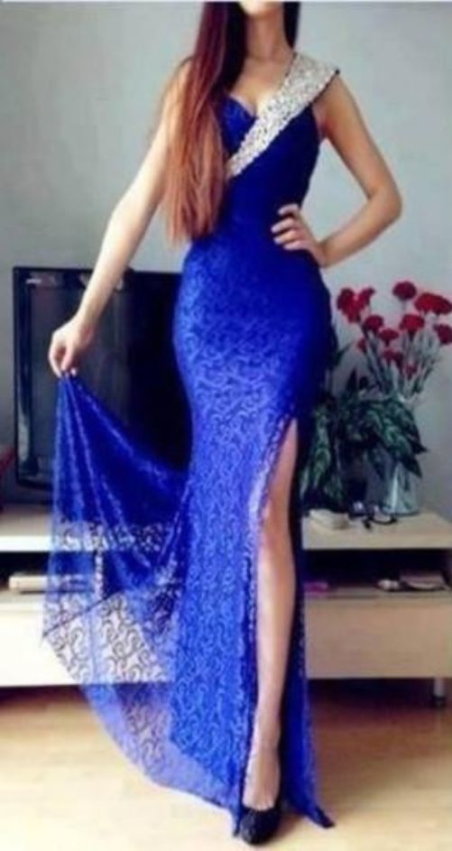 Fashion Sexy Royal Blue Prom Dresses, Beaded Prom Dresses, Sheath Prom Dresses