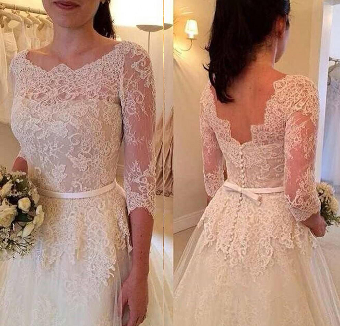 Lace A Line Wedding Dresses with 3/4 Long Sleeves Bateau Neck Backless Bridal