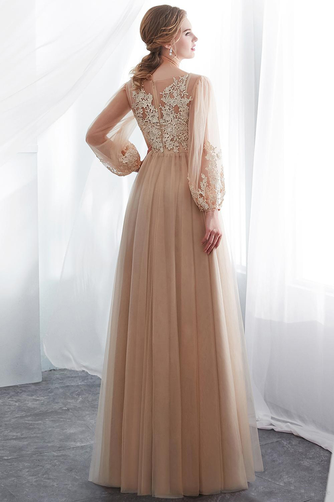 Elegant Champagne Long Poet Sleeves Wedding Dresses  Summer Beach Floor Length