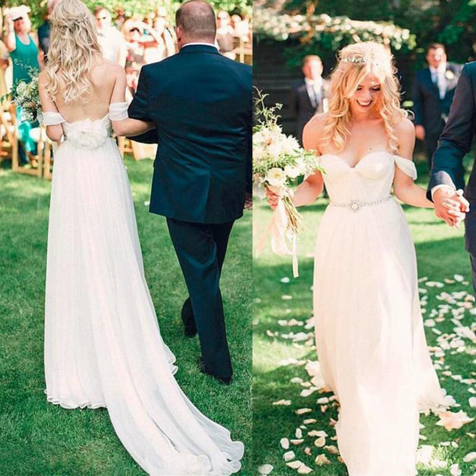 Summer Garden Boho Wedding Dresses A Line Off Shoulders Pleats Long Bridal Gowns