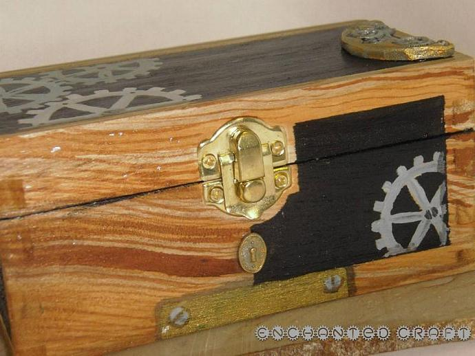handpainted Steampunk wood box with polymer clay details and chalkboard end